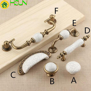 Wholesale 1 Pc Ceramic Knobs Pulls Dresser Drawer Knob Pull Handles Cabinet Door Handle Pull Antique Bronze White Crack Porcelain