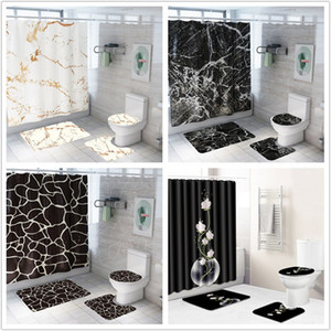 Wholesale bathroom curtains for sale - Group buy Creative Marble Printing Bathroom Waterproof Shower Curtain Pedestal Rug Lid Carpet Toilet Cover set Bath Curtain Mat Set T200102
