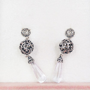 Wholesale droplet earrings resale online - Authentic Sterling Silver Studs Regal Droplets Hanging Earrings Fits European Pandora Style Studs Jewelry CZ
