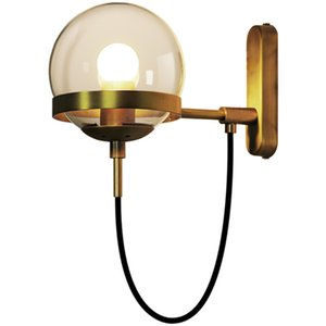 Wholesale Nordic retro restaurant wall lamp post simple hotel bedside lamp industrial wrought iron glass ball wall light