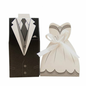 Wholesale 100pcs Candy Boxes Bags Bridal Groom Gift Cases Tuxedo Dress Gown Candy Box Wedding Favors and Gifts with Ribbon