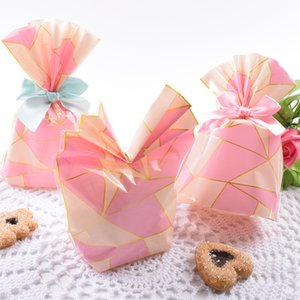 Wholesale 10pcs Candy Bag Packaging For Sweets Candies Bags Transparent Plastic Easter Birthday Wedding Party Gift Wrap Pink New