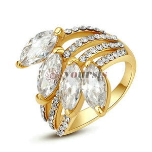 Wholesale big crystal flower ring resale online - Yoursfs K Rose Gold Plated Big Flower Rings Use Clear Austrian Crystal Fashion Jewelry