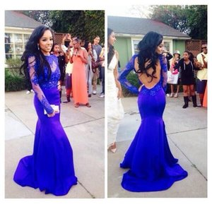 Elegant Royal Blue Open Back Prom Dresses With Long Sleeves Appliques Lace Mermaid Graduation Evening Party Gowns Black Girls Prom Dresses on Sale
