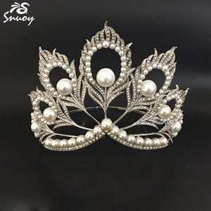 Wholesale Miss Universe Crowns Peacock Feathers Pearls Full Round Tiara Beauty Queen Crown Big for Pageant Women Jewelry Hair Accessories C18112001