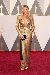 New Oscar Margot Robbie Gold Evening Dresses Sexy Deep V Neck Long Sleeve Bling Sequined Celebrity Party Dresses Red Carpet Prom Dresses on Sale