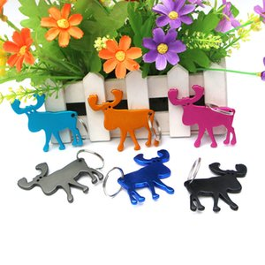 Wholesale 10pcs Bag Multifunction Opener Animal Moose Elk Wine Beer Bottle Cap Opener Outdoor Edc Cute Reindeer Key Ring Key Chain Keyring
