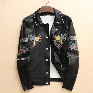 Wholesale TOP clothing Men PU Leather Jacket Spring Autumn British Style business Men Leather Jacket Motorcycle Jacket Male Coat Black plus size M-3XL