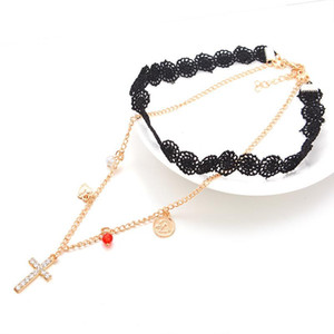 Wholesale Choker Necklace For Women Sweater Necklace Punk double Lace Tassel Necklace
