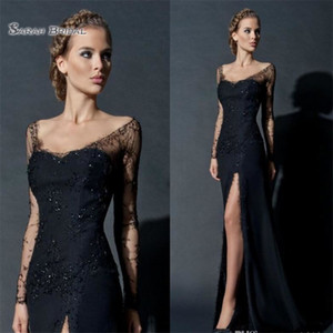 High Split Sheath Evening Dresses Long Sleeve Lace Sequines Evening Gowns Custom Made Celebrity Prom Dress on Sale