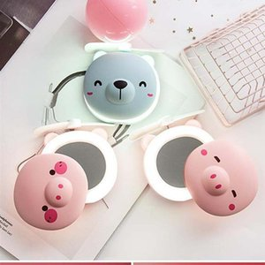 10styles Pig Fan Mirror Beauty Portable Pocket USB Charging Mini Handheld Fan With Makeup Mirror LED Light Small Fan Travel Gift FFA2427
