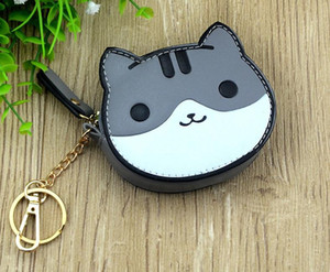 Wholesale Cat Keychain Cute Anime Small Pendant Leather Keychains For Women Girl Wallet Bag Mini Keyring Kids Trinket Gifts