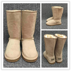 Hot sales designer Women Snow Boots Classic Style Cow Suede Leather Waterproof Winter Warm Knee-high Long Boots Brand Ivg Plus Size US3-14