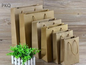 Wholesale 10pcs kraft Paper Gift Bag blank Candy Bag small Packing Pouch With Handle for Birthday Wedding Christmas Party Return Gift
