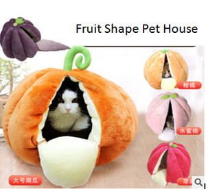 Pet Lovely Fruit Nest Pumpkin Honey Peach Shape Cat Nest Dog Kennel Semi-enclosed Cat House Winter Warm Small Dog Bed