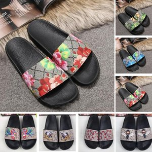 Wholesale 2019 New Ace Shoes Women Luxury designer sandals Fashion Flowers Tiger Bee Snake Print Desin Mens Flats Slides Slippers Size