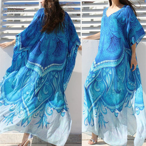 Wholesale Ocean Blue Bohemian Beach Dress Kaftan Plus Size Tunic Beachwear Summer Women Half Sleeve Maxi Dress Robe N669