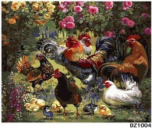 Wholesale Adult Hand Painted Kits Paint Oil Paint DIY Painting By Numbers Rooster family quot x20 quot