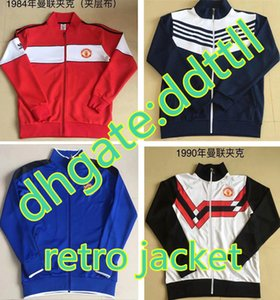 Wholesale Retro Version red blue United America Centenary Soccer jersey jacket full zip football PSV Manchester Madrid BARCE
