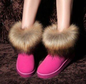 Europe Style classic Waterproof Winter Snow Boots Suede leather Faux Fur pink red ankle boots Slip on Female Shoes warm booties woman 2018