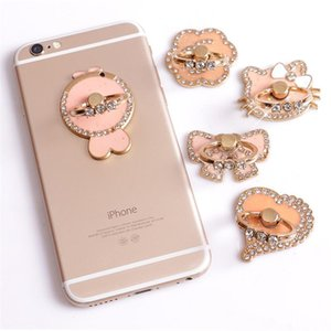 Wholesale Universal Degree Sugar coating Ring Phone Stand Holder Pink Flower Bowknot Cat Fish Heart Crystal Finger Ring Holder For iphone HTC