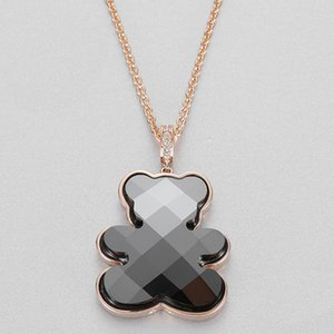 Wholesale Bear Necklaces Women Fashion Charm Pure Silver Original Cute Childlike Teddy Pendant Necklace Female Luxury Jewelry Gift