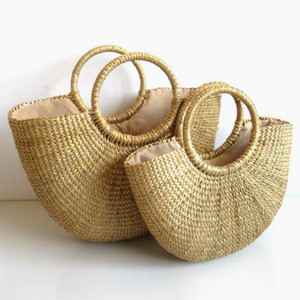 Wholesale 1PCs Summer Beach Bags Solid Weaving Bamboo Bags Wood Top handle Flap Handbags Ladies Round Straw Moon Shaped Wrapped
