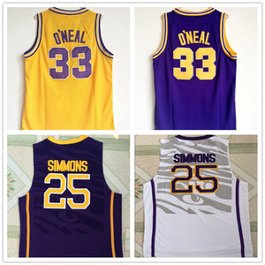 Wholesale NCAA LSU Tigers College Simmons Jersey O neal Basketball Jerseys Sticthed White Yellow Purple Fans on sales logos
