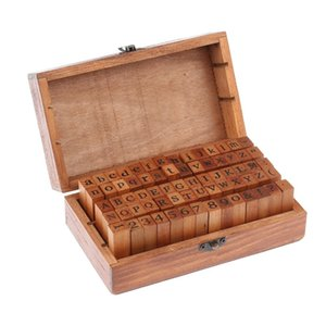 Wholesale Scrapbooking Stamping Stamps Vintage DIY Number And Alphabet Letter Wood Rubber Stamps Set With Wooden Box For Teaching And Play