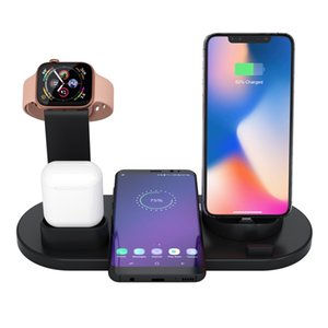 Wholesale Wireless Charger 6 in 1 Fast Holder Stand For Apple Watch Series 4 3 2 iwatch Airpods Iphone XR XS MAX Huawei Samsung Note 10 Dock Station