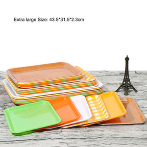 Wholesale Food grade Rectangular guest room tray buffet non slip tableware hotel plastic tray fast food plate Melamine plates cm