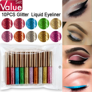 Wholesale value high quality 10 colors sets of shiny glitter eyeliner set Sequined shimmer liquid eyeliner stick