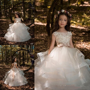 Wholesale Pricness Formal Wedding Party Flower Girl s Dresses Sheer Crew Neck Lace Appliques Bow Belt Girl s Pageant Dresses with Tiered Ruffles