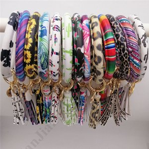 Wholesale Tassels Bracelets Women PU Leather Wrap Key Ring Leopard Keychain Wristband Candy Color Sunflower Drip Oil Bracelet Chains Color A101702