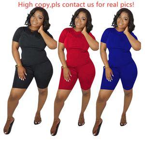 Women designer brand 2 piece set sportswear tracksuit short sleeve pullover t-shirt shorts bnodycon leggings summer clothing plus size 678