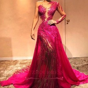 Wholesale 2019 Vintage Sheer One Shoulder Lace Long Evening Dresses Sheer Tulle Sequins Crystals Ruched Red Carpet Dress Formal Prom Gowns BC0504
