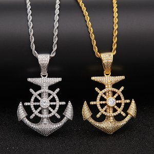 Wholesale 2019 new tide brand fashion men s hip hop zircon rudder anchor hip hop rapper DJ nightclub cool pendant necklace
