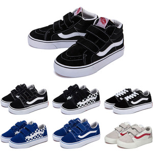 Wholesale New Designer Original old skool sk8 hi kids shoes boy girl baby shoes canvas sneakers Strawberry fashion skate casual shoes size