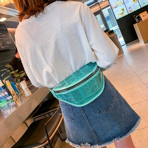 Wholesale Women Waist Bag Beach PVC Waterproof Newspaper Bags Clear Transparent Jelly Letter Women Belt Bag Candy Crossbody Bags