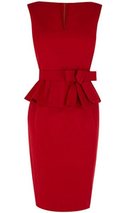 Setwell 2019 Red V-neck Sheath Evening Dress Cap Sleeves Short Length Pleated Peplum Prom Gown With Belt