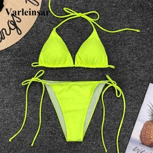 Wholesale New Neon Yellow Brazilian Bikini Female Swimsuit Women Swimwear Two pieces Bikini Set Halter Bather Bathing Suit V1312 Y19052702
