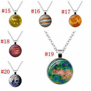 Wholesale Planet galaxy Retro sweater necklace glass cabochon space universe Gun black pendant women Starry sky jewellery gifts MMA3159B