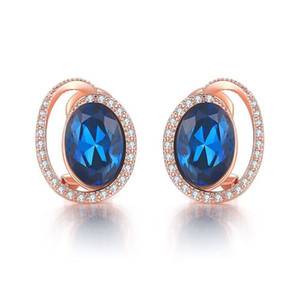 Wholesale E Princess Style Oval Royal Blue Zircon Stud Earrings For Women Fashion Jewelry Rose Gold Plated Cubic zirconia