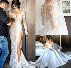 2019 Satin Sheath Bride Dress with Overskirt Hight Split Beach Sexy Long Sleeves Backless Evening Wear Formal Gown High-end Wedding Boutique on Sale