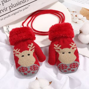 Wholesale 2019 Brand New Y Christmas Gloves Toddler Baby Winter Cartoon Deer Velvet Knitted Mittens Gloves Boy Girl Kids Outdoor Gloves