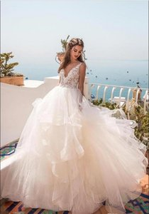 cascading ruffles Summer Beach Wedding Dresses A Line V Neck Sexy Open Back Lace applique Wedding Bridal Gowns Maternity Wedding Dress