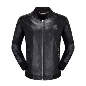 mens designer skulls Faux Leather jacket hip hop fashion brand clothing Casual winter coat High Quality man luxury biker jacket Size M-3XL on Sale