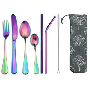 Wholesale 8pcs set Rainbow Portable Dinnerware Cutlery Set Stainless Steel Tableware Knife Fork Teaspoon Straw Bag Utensils With Case Set T8190628