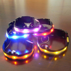 Wholesale Nylon LED Pet Dog Collar Night Safety Anti lost Flashing Glow Collars Dog Supplies colors S M L XL Size for pet dogs