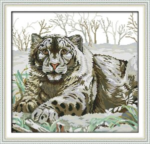 Wholesale tiger paintings for sale - Group buy Tiger in the Snow Winter home decor painting Handmade Cross Stitch Embroidery Needlework sets counted print on canvas DMC CT CT